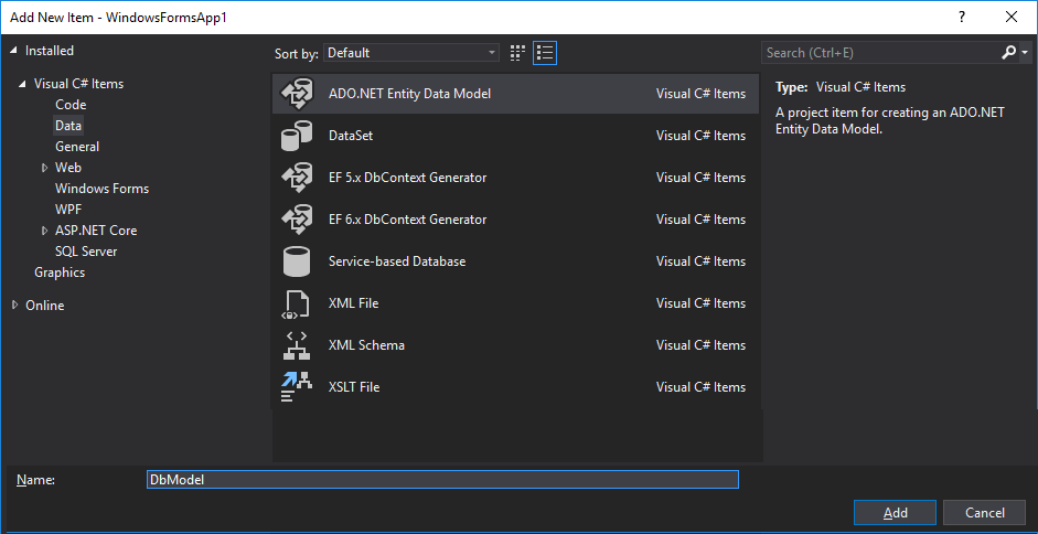 Creating an Entity Data Model (EDM)